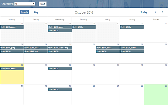 View Office Meeting Rooms Calendar in ASP.NET MVC5